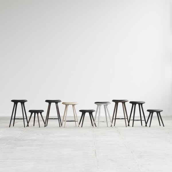 High Stool Dark stained beech - Image 2