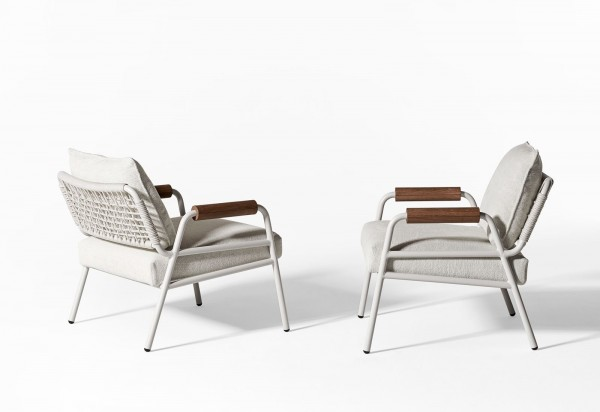 Zoe Wood Open Air Lounge Chair - Image 1