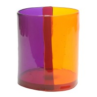 Two Lines vase - Clear Purple, Clear Orange