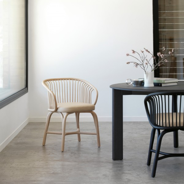 Huma dining armchair with rattan legs - Image 1