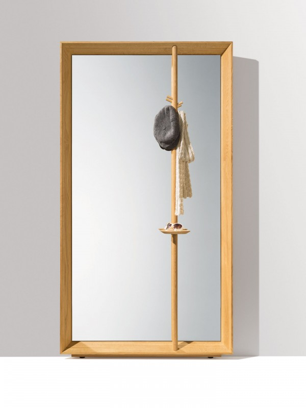 Haiku Framed Mirror Panel with Clothes Rail with Key Dish - Image 1