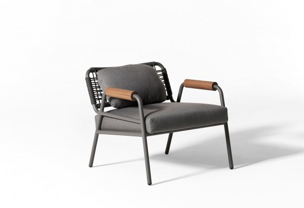 Zoe Wood Open Air Lounge Chair - Image 4