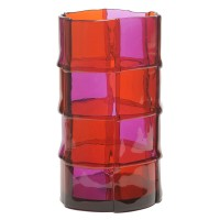 Bamboo vase - Clear Dark Ruby, Clear Purple